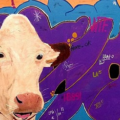 Urban cow painted by
