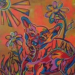 Happy Dog painted by