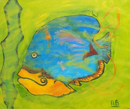 Fish painted by Nelly Biessen