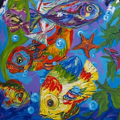 Fish painted by