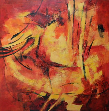 Abstract rood painted by Vera Wilting
