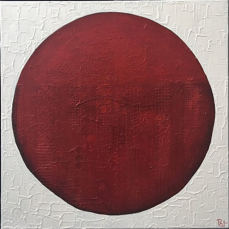 Red button painted by Patricia Tesselhoff