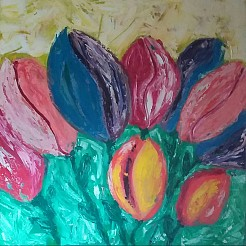 Abstracte tulpen painted by