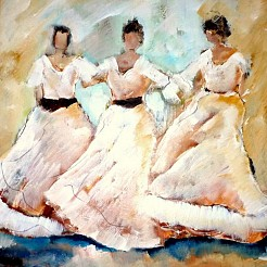 Dansende vrouwen painted by
