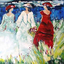 Deftige dames painted by