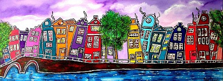 I love Amsterdam (op aluminium) painted by Art-Almere.nl