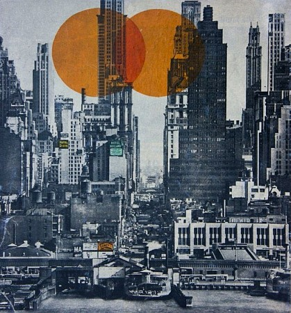 New york skyline 1948 painted by Db Waterman
