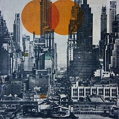 New york skyline 1948 painted by