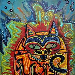 Energetic Cat painted by