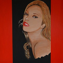 Lady in red painted by