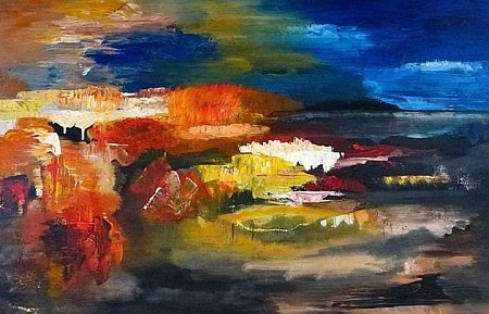 Landschap-abstract! painted by Irene van Uxem