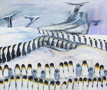 March of the penquins painted by Julia Schaefers