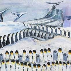 March of the penquins painted by