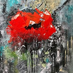 Flower poppy painted by