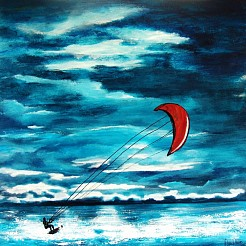 Kitesurfer in acion. Sale! painted by