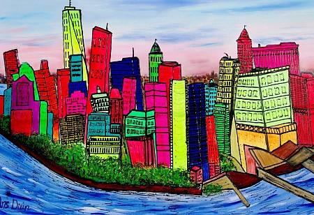 New YOrk, Manhattan painted by AnsDuinArt.nl