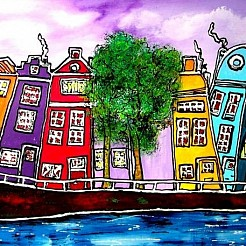 I love Amsterdam (op aluminium) painted by