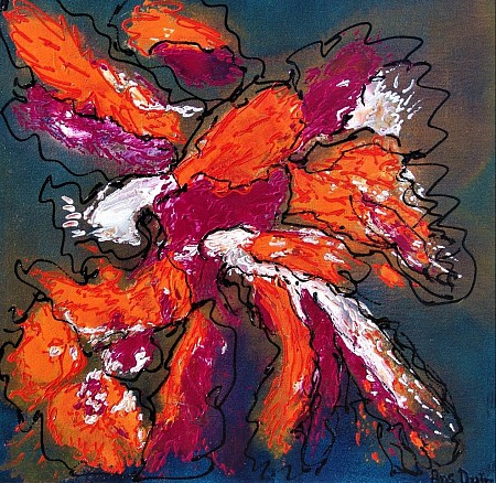 Abstract in orange and purple painted by AnsDuinArt.nl