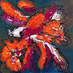 Abstract in orange and purple.  Sale! painted by