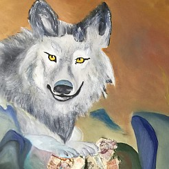 Geld wolf  your money of your life painted by