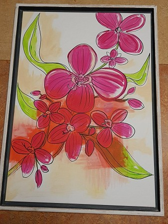 Untitled flowers in pink painted by QUINTAINE MODERN ART