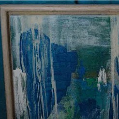 Untitled abstract  - groen met blauw painted by