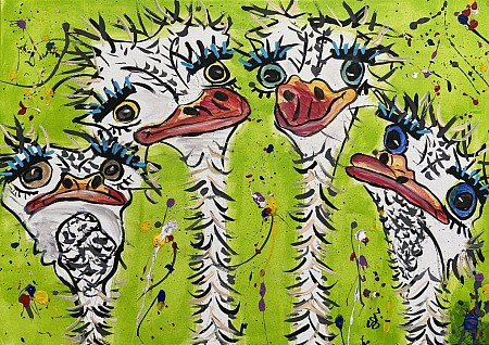 Grappige struisvogels painted by Joanna Hesse