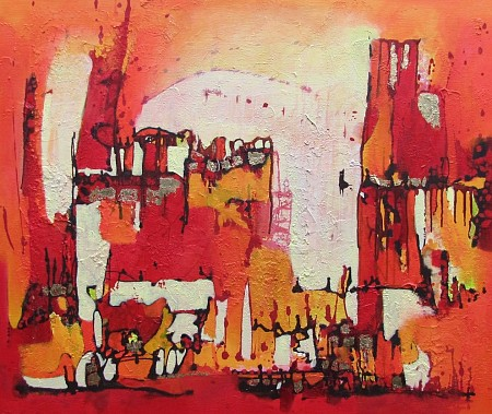 Red Village painted by Jolanda van  Hattum